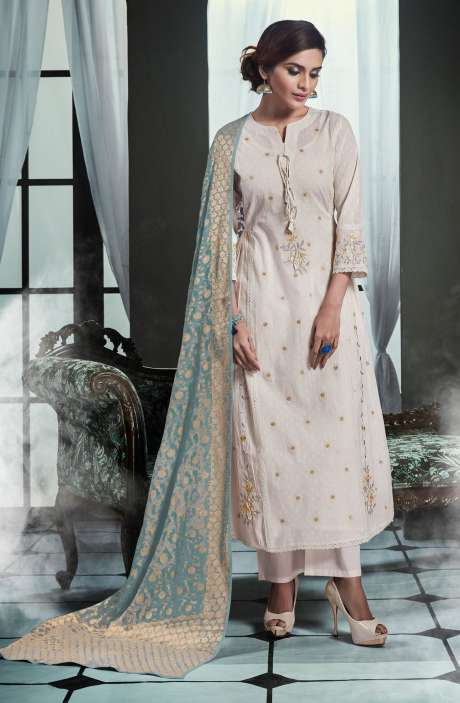 Embroidered Cotton Cream Salwar Kameez with Pastel Green Dupatta - OLI4426