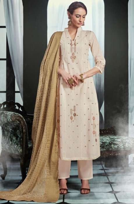 Embroidered Cotton Cream Salwar Kameez with Brown Dupatta - OLI4428