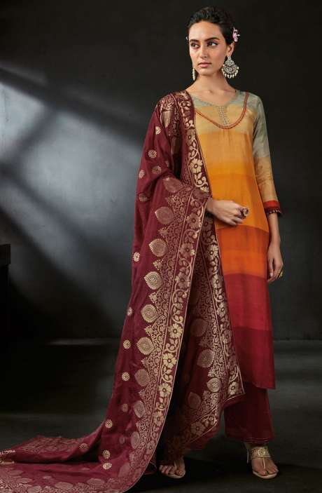 Diwali Special Digital Print and Embellished Satin Silk Multicolor Salwar Suit with Brocade Dupatta - OPI6546-R