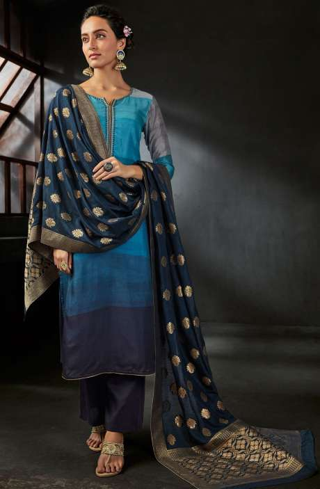 Deepawali Special Digital Print and Embellished Satin Silk Blue Salwar Suit with Brocade Dupatta - OPI6547-R