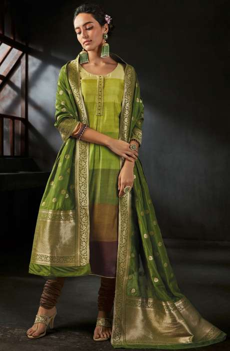 Deepavali Special Digital Print and Embellished Satin Silk Multicolor Salwar Kameez with Brocade Dupatta - OPI6549-R