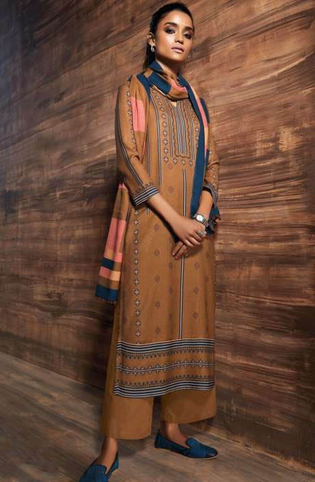 Ready-to-Stitch Digital Printed Salwar Kameez In Brown - ORE6519-RE