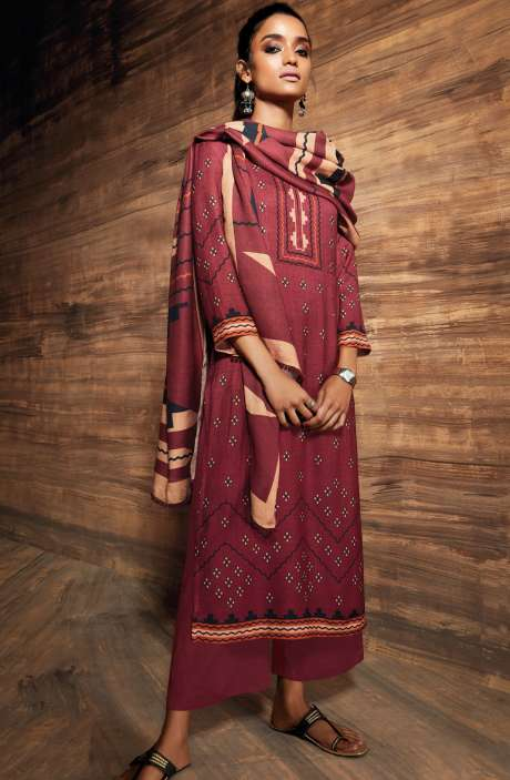 Ready-to-Stitch Digital Printed Salwar Kameez In Maroon - ORE6522-RE
