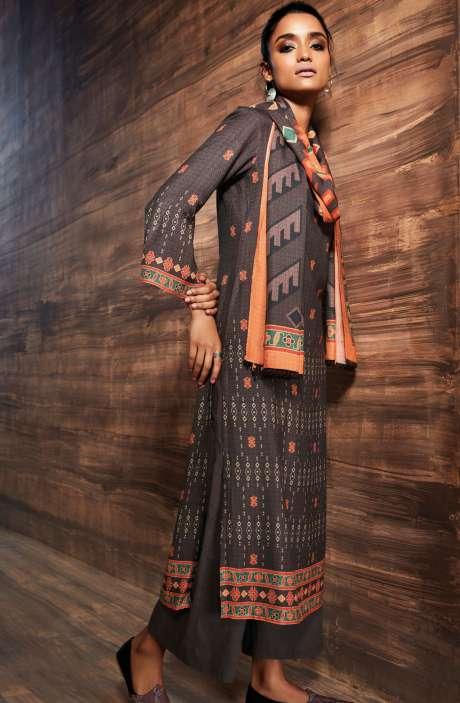 Ready-to-Stitch Digital Printed Salwar Kameez In Coffee Brown - ORE6523-RE
