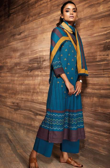 Ready-to-Stitch Digital Printed Salwar Kameez In Blue - ORE6524-RE
