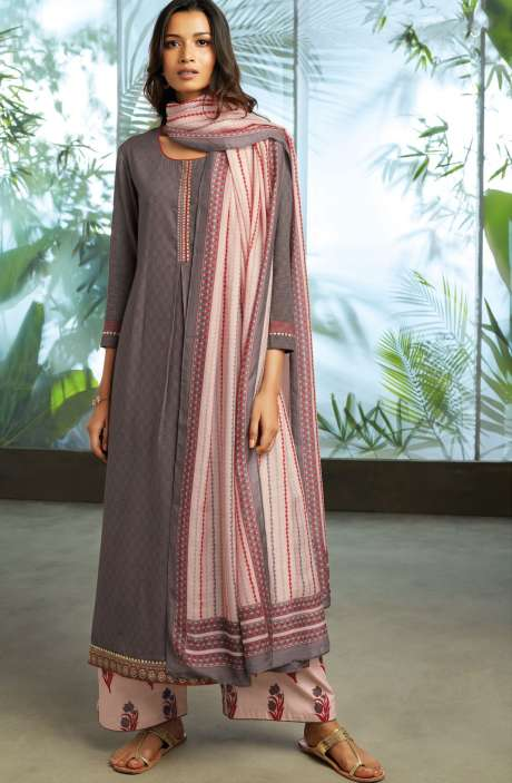 Cotton Jacquard Unstitched Kameez with Printed Salwar & Dupatta In Coffee - ORY7704