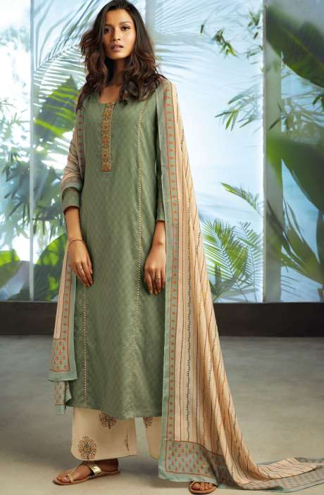 Cotton Jacquard Unstitched Kameez with Printed Salwar & Dupatta In Olive Green - ORY7705