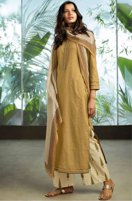 Cotton Jacquard Unstitched Kameez with Printed Salwar & Dupatta In Brown - ORY7707