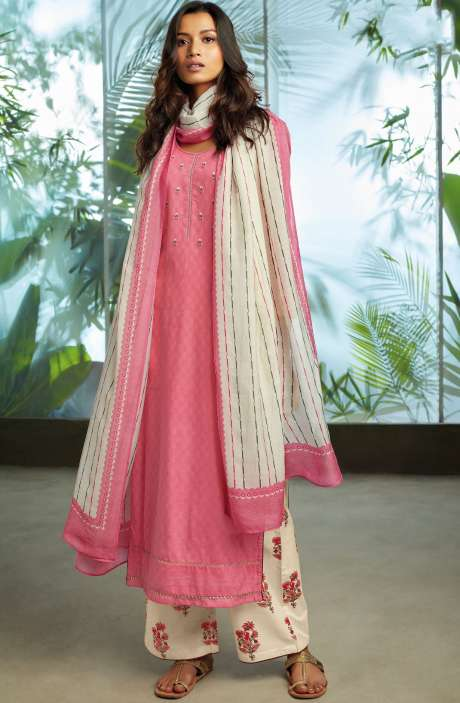 Cotton Jacquard Unstitched Kameez with Printed Salwar & Dupatta In Pink - ORY7708