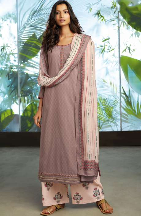 Cotton Jacquard Unstitched Kameez with Printed Salwar & Dupatta In Fawn - ORY7709