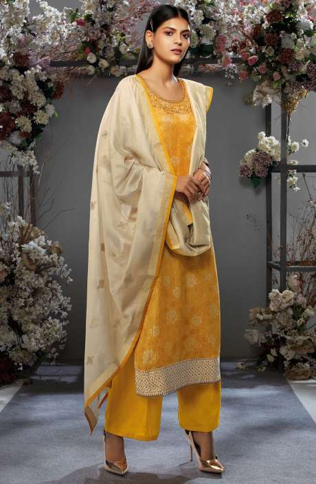 Festive Collection Cotton Silk Mustard Yellow Salwar Kameez with Kora Silk Jacquard Dupatta - OSH7649R