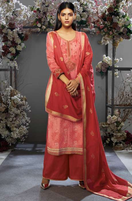 Festive Collection Cotton Silk Peach Salwar Kameez with Kora Silk Jacquard Dupatta - OSH7652R
