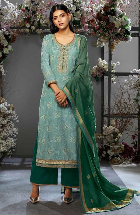Festive Collection Cotton Silk Green Salwar Kameez with Kora Silk Jacquard Dupatta - OSH7653R