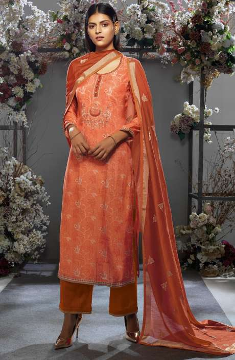 Festive Collection Cotton Silk Orange Salwar Kameez with Kora Silk Jacquard Dupatta - OSH7654R