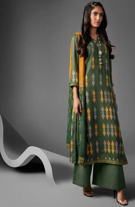 Modal Cotton Printed Suit Sets In Bottle Green & Mustard - OVE6632