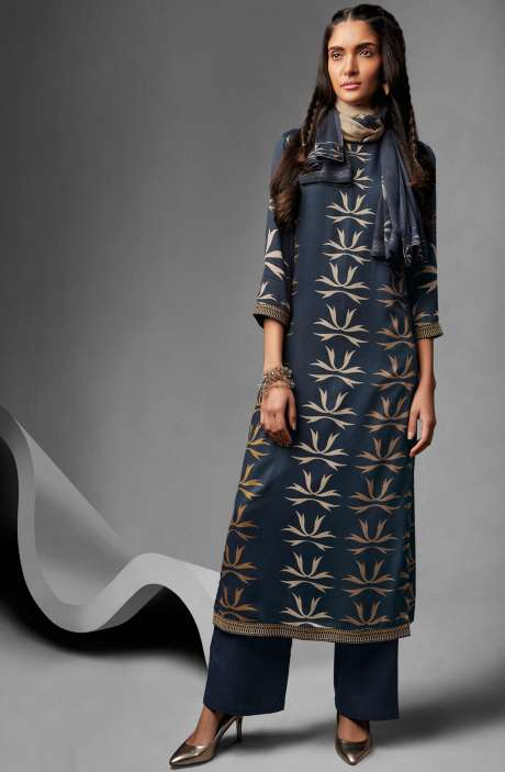 Modal Cotton Printed Suit Sets In Navy Blue - OVE6634
