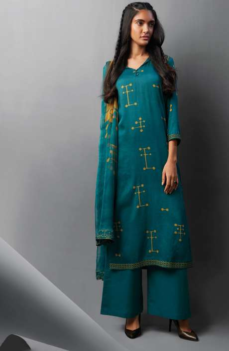 Modal Cotton Printed Suit Sets In Firozi - OVE6635