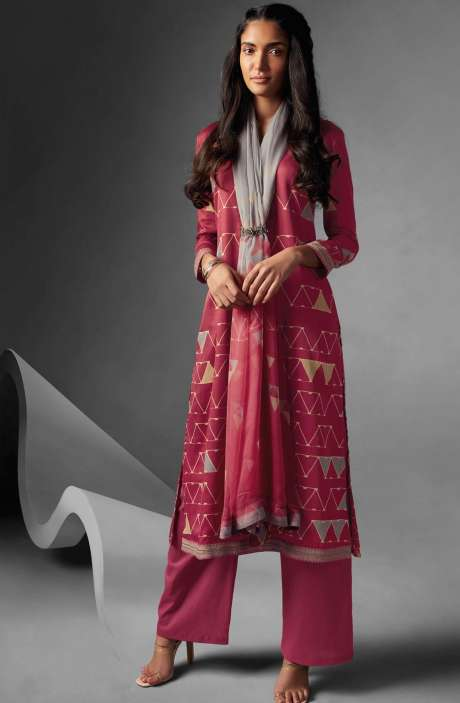 Modal Cotton Printed Suit Sets In Rose Red - OVE6636
