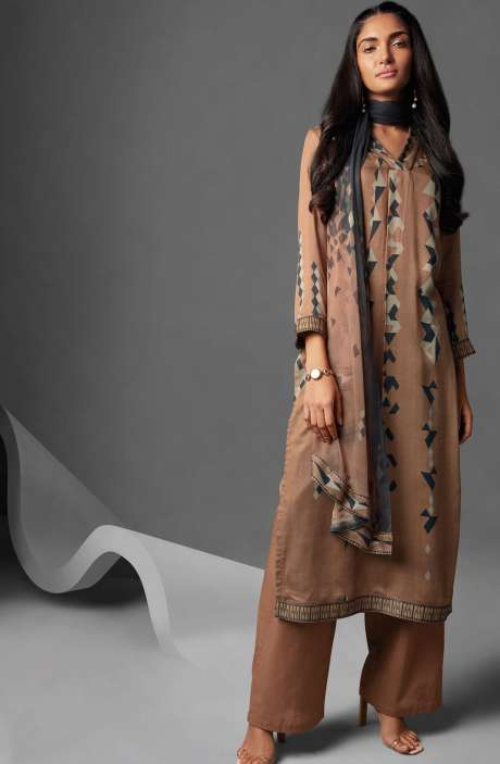 Modal Cotton Printed Salwar Suit Sets In Brown - OVE6637