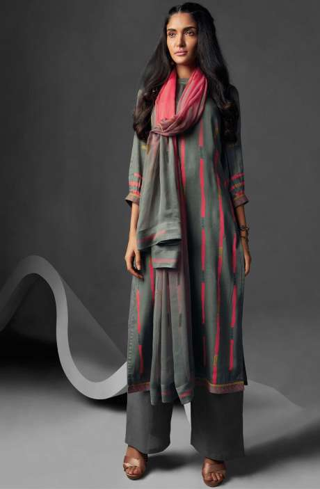Modal Cotton Printed Suit Sets In Grey - OVE6638