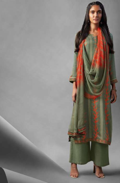 Modal Cotton Printed Suit Sets In Mehndi Green - OVE6640