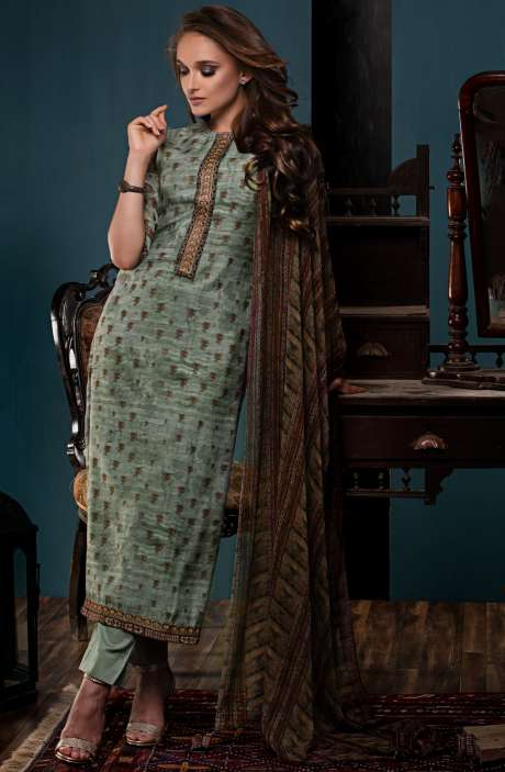 Digital Print with Embroidery and Zari Work Salwar Suit Sets In Pastel Green - PAL2470