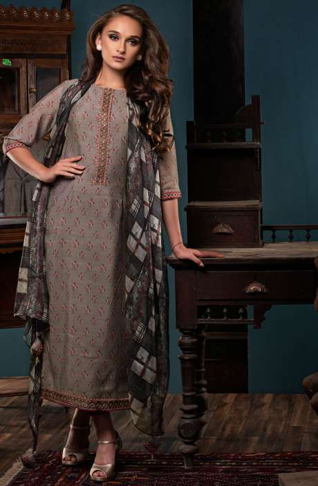 Digital Print with Embroidery and Zari Work Salwar Suit Sets In Grey and Red - PAL2475
