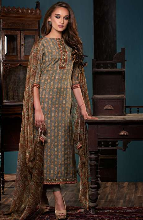 Digital Print with Embroidery and Zari Work Salwar Kameez Sets In Multi and Grey - PAL2476