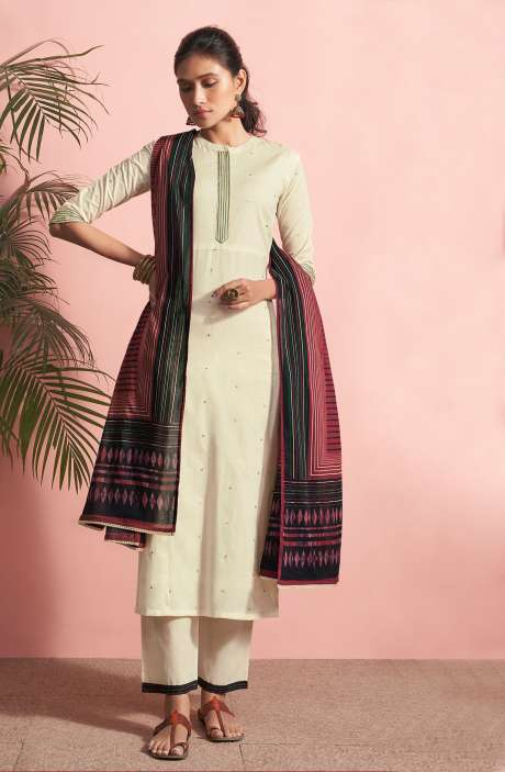 Cotton Lawn Casual Salwar Kameez In Cream - PAN5183