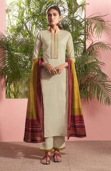 Cotton Lawn Casual Salwar Kameez In Beige - PAN5184