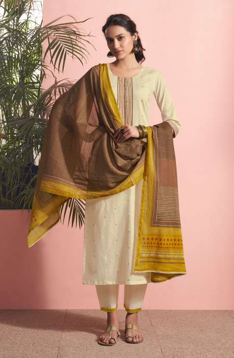 Cotton Lawn Casual Salwar Kameez In Cream - PAN5186
