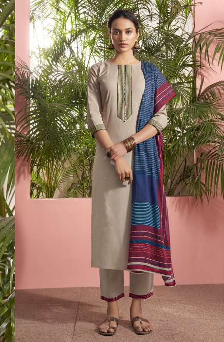 Cotton Lawn Casual Salwar Kameez In Grey - PAN5187