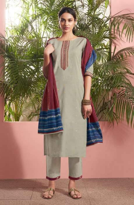 Cotton Lawn Casual Salwar Kameez In Grey - PAN5188
