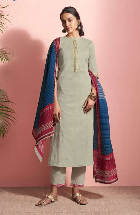 Cotton Lawn Casual Salwar Kameez In Grey - PAN5190