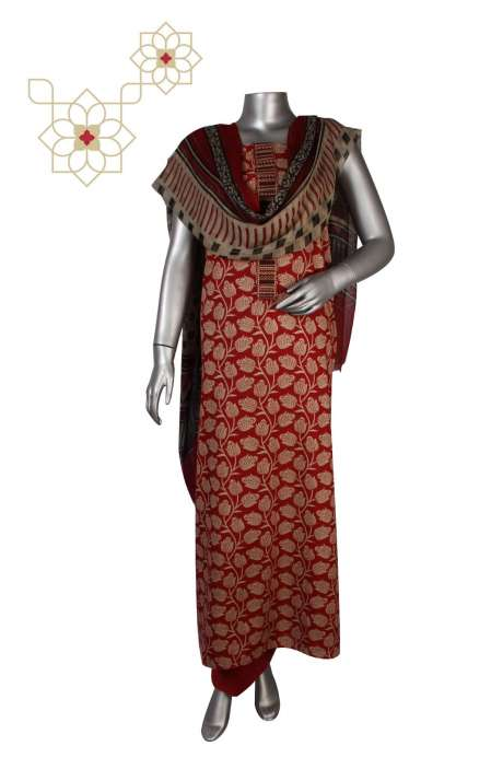 Cotton Unstitched Digital Print Suit Sets  in Maroon & Beige - PANKTI01C