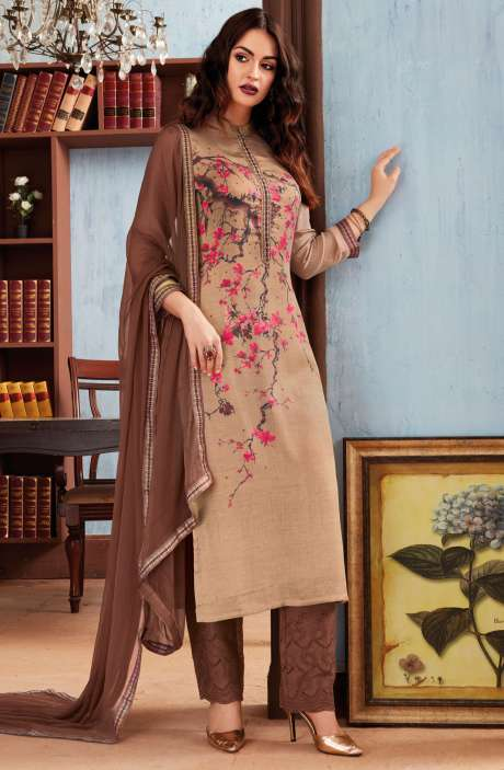 Digital Floral Print Cotton Modal Beige and Brown Salwar Suit with Machine Embroidery - PAP1121