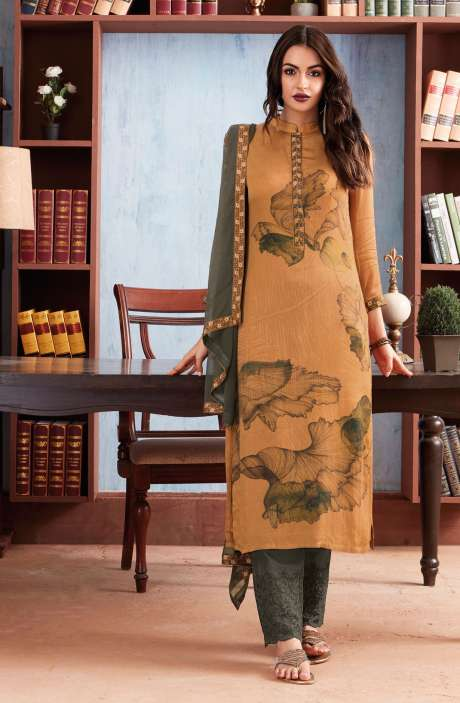 Digital Floral Print Cotton Modal Brown Salwar Suit with Machine Embroidery - PAP1123