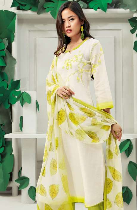 Cotton Floral Digital Printed Off White and Leaf Green Suit Set - PAP5837-R