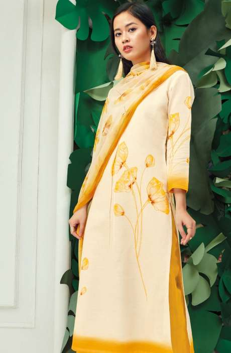 Cotton Floral Digital Printed Off White and Ochre Suit Set - PAP5842-R