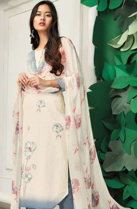 Cotton Floral Digital Printed Off White and Grey Suit Set - PAP5843-R