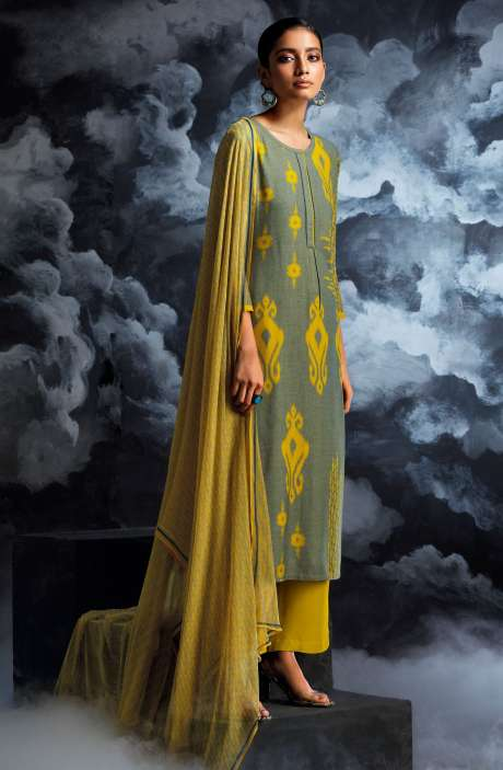 Cotton Dobby Printed Unstitched Salwar Kameez in Green - PAS8128