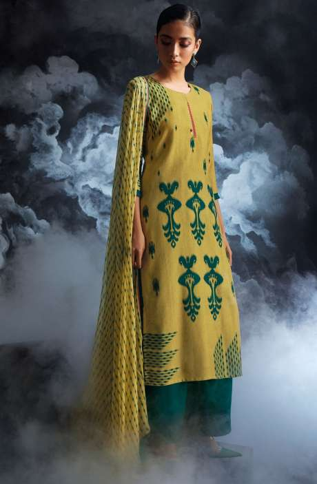 Cotton Dobby Printed Unstitched Salwar Kameez in Green - PAS8131