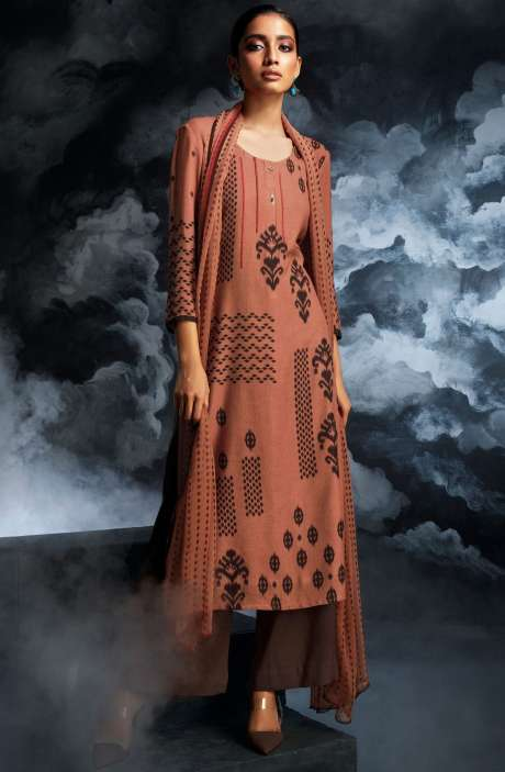 Cotton Dobby Printed Unstitched Salwar Kameez in Rust & Coffee - PAS8132