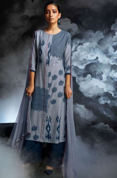 Cotton Dobby Printed Unstitched Salwar Kameez in Grey & Blue - PAS8133