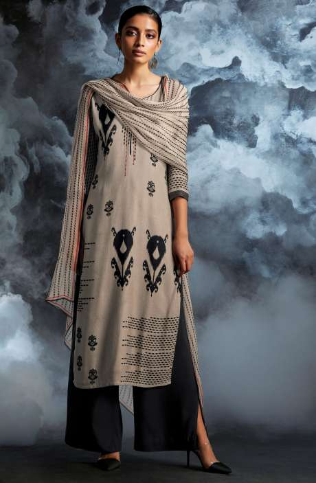 Cotton Dobby Printed Unstitched Salwar Kameez in Beige & Black - PAS8134