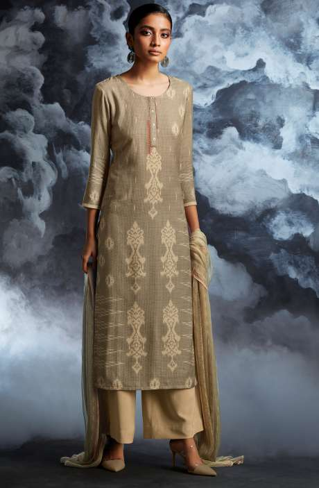 Cotton Dobby Printed Unstitched Salwar Kameez in Beige & Cream - PAS8135