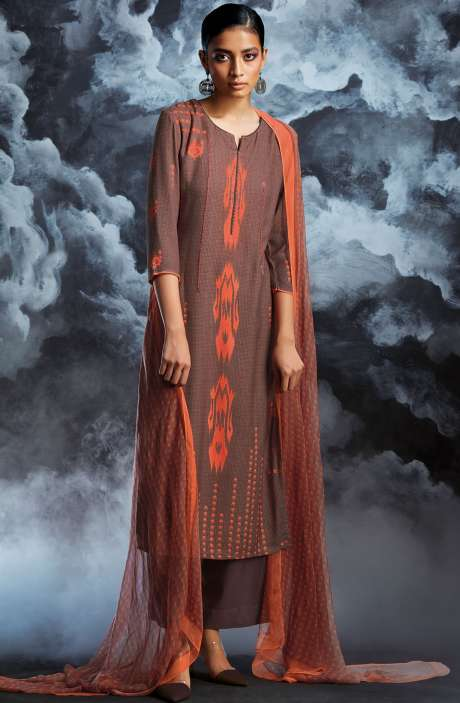 Cotton Dobby Printed Unstitched Salwar Kameez in Brown - PAS8136