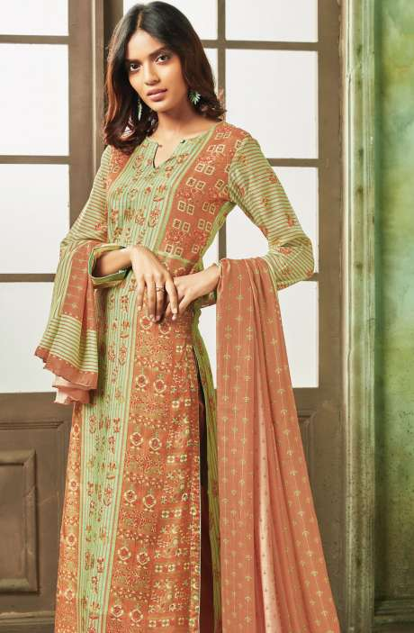 Designer Digital Print with Sippy, Moti and Mirror Work Modal Cotton Salwar Kameez In Peach and Green - PEA625