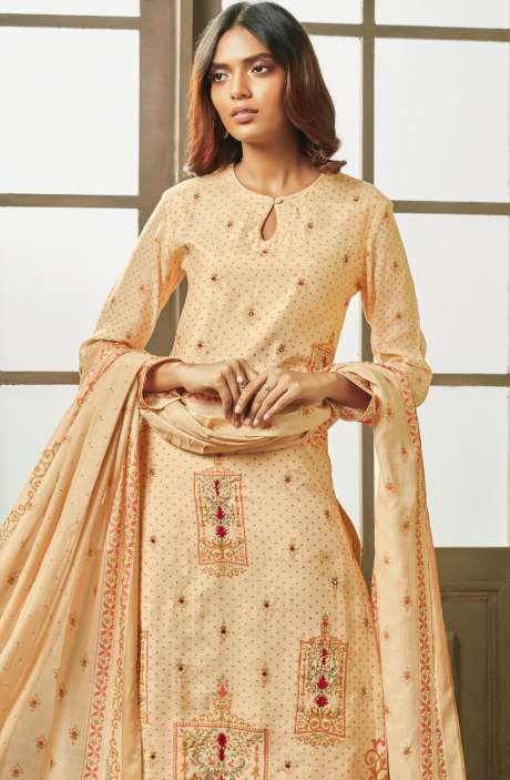 Designer Digital Print with Embroidery and Mirror Work Modal Cotton Salwar Kameez In Cream - PEA685