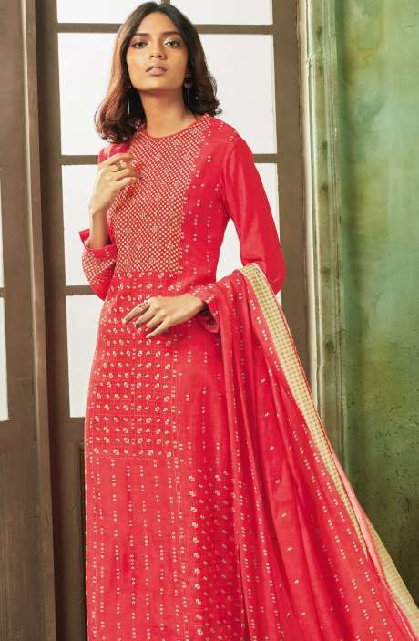 Designer Digital Print with Zari, Sippy and Moti Work Modal Cotton Salwar Suit In Red - PEA697